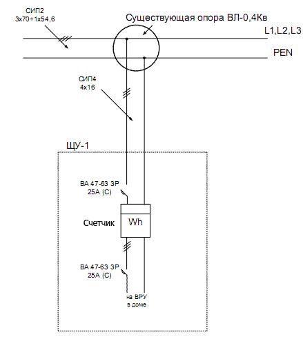 Однолинейная схема трехфазного
